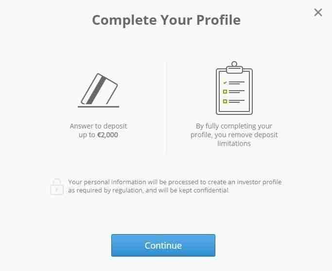 etoro Complete your profile